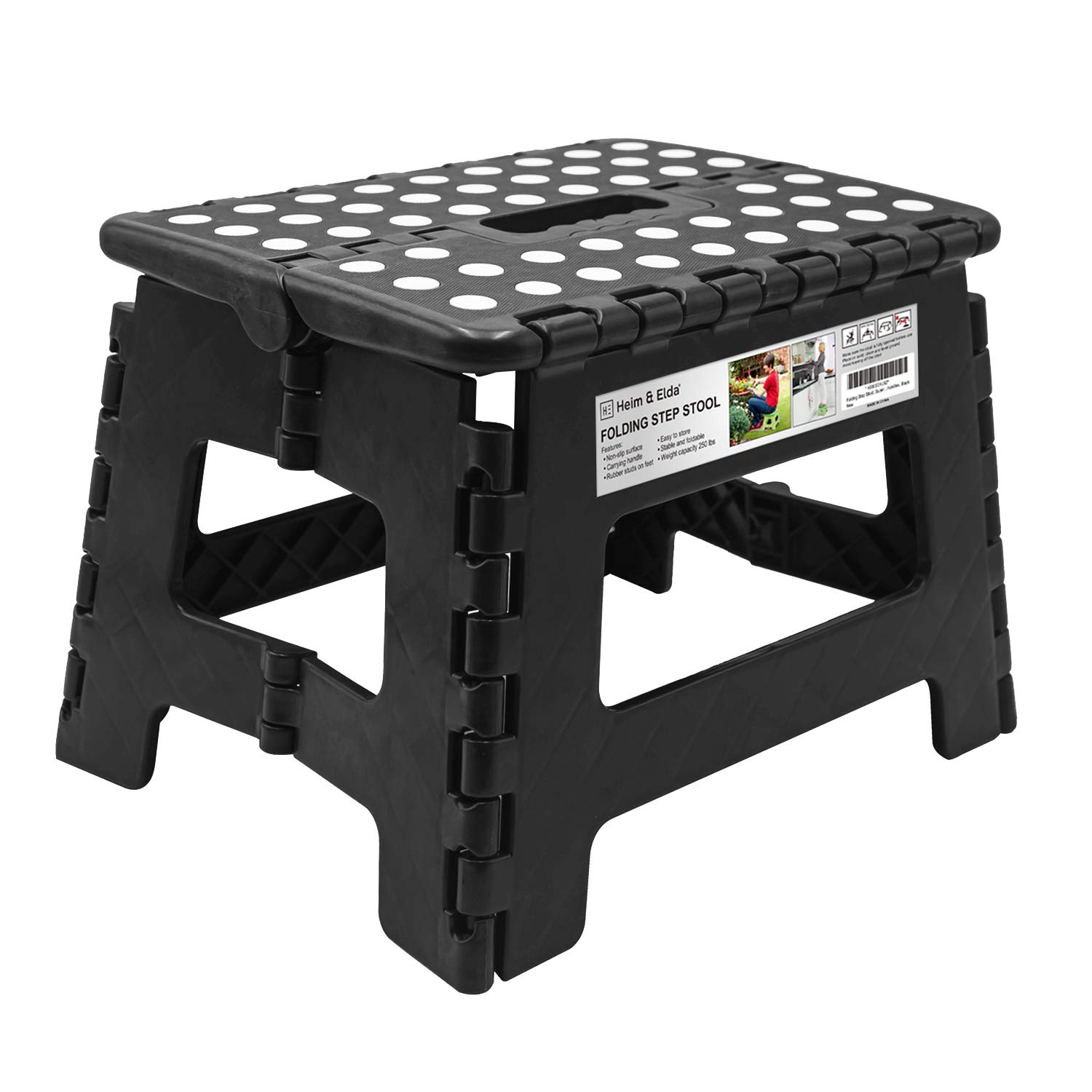 Folding Step Stool, Super Strong Plastic 9 inch Step Stool for Kids and Adults with Handles, Black Heim & Elda