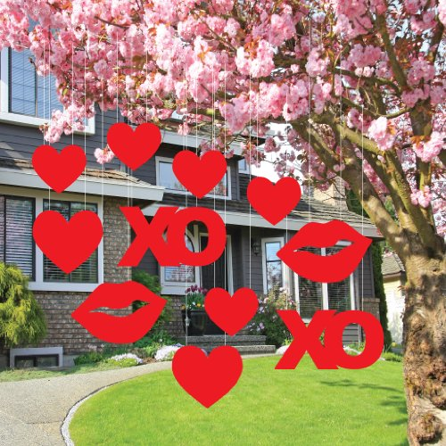 Valentine's Lawn Decorations - Hanging Hearts, Kisses, and XO's (Set of 11)