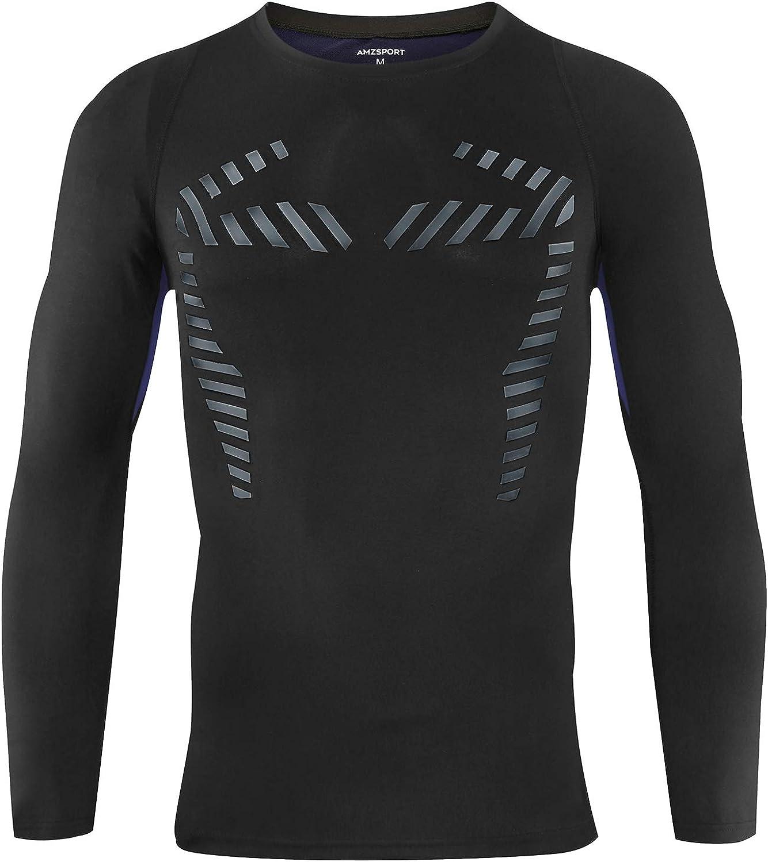 AMZSPORT Maglia Compressione Termica da Uomo a Manica Lunga Maglietta da Corsa per Sport Invernali Baselayer