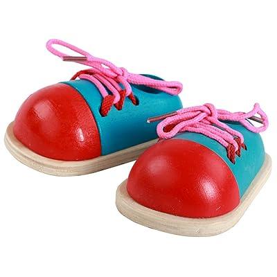 1 Par Niños Cordones De Los Zapatos De Madera Que Atan Los Juguetes Del Color Al Azar: Juguetes y juegos