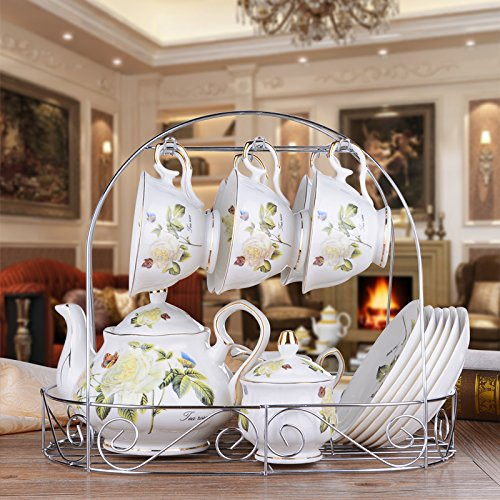 CLG-FLY 15 European ceramic coffee cup Cup suit English afternoon tea cups set teapot Cup set,15 pieces,3