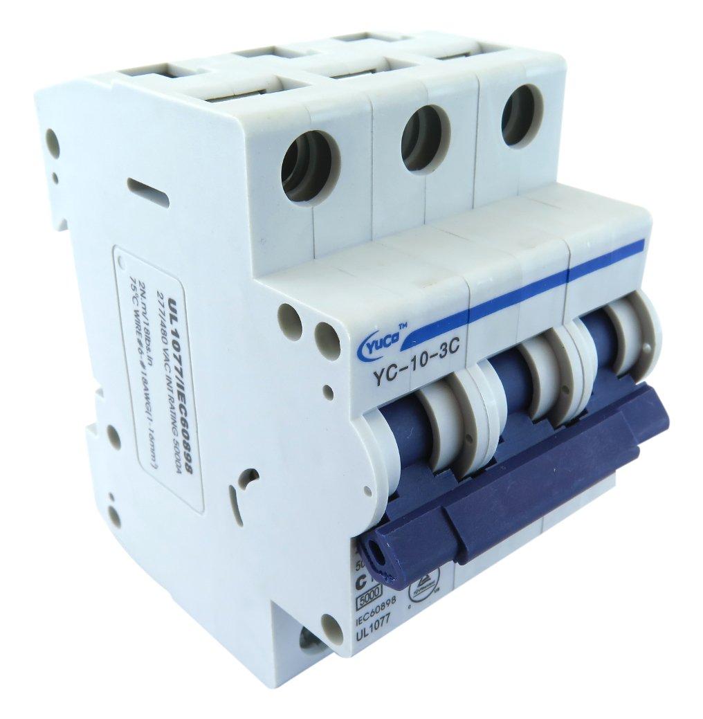 Yuco YC-10-3C Supplemental Protector Din Rail Miniature Circuit Breaker 3P 10A C Curve TUV UL 1077 European Design CSA C22.2