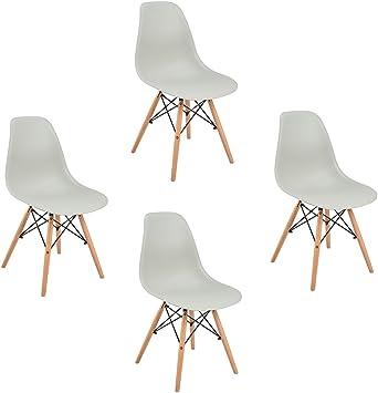 Tendance rétro 4 EGGREE Lot Manger Chaise Salle de Gris à chaises Bois de Design iPXZTwOklu