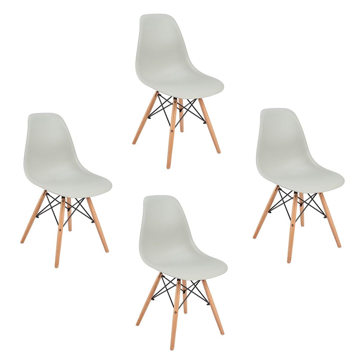 Set di 4 sedie da pranzo ,Eggree Modello sedie con gambe in faggio massiccio, per sala da pranzo cucina,Grigio EGGREE-EA-09