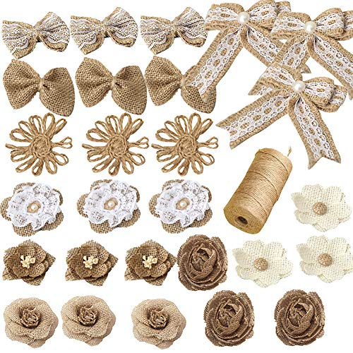 Burlap Flowers Set, 27PCS 9 Styles Natural Handmade Rustic Lace Rose and 1 Roll Jute Twine for DIY Arts Craft Valentine Gift Wedding Decoration and Floral Crafts Making, Durable Packing String-A