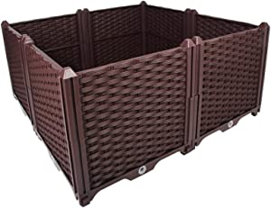 BAOYOUNI Square Raised Garden Bed Kit Indoor Outdoor Plastic Planter Grow Box for Fresh Vegetables, Herbs, Flowers & Succulents, Brown, 30.7'' x 30.7'' x 14.96''