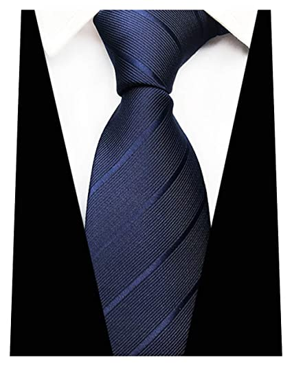 289a41f544c1 Image Unavailable. Image not available for. Color: MINDENG Men's Dark Blue  Tie Stripes ...