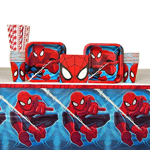Spiderman Party Pack for 16 Guests: Straws, Plates, Napkins, Cups, and Table Cover