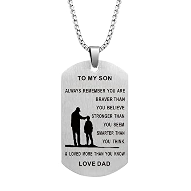 1381046e Dad Mom To Son Dog Tag Necklace Military Mens Jewelry Custom Stainless  Steel Pendant Love Birthday Gifts (Dad To Son 1): Amazon.co.uk: Jewellery