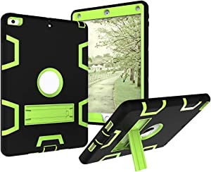 Tablet covers Shockproof Heavy-Duty Rubber High-Strength Sturdy and Durable Hybrid Three-Layer Full Body Protective Case for New iPad 9.7 2017/2018 Built-in Shockproof Support Protective Cover Case Sk