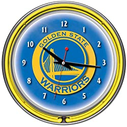 NBA Golden State Warriors Chrome Double Ring Neon Clock, 14