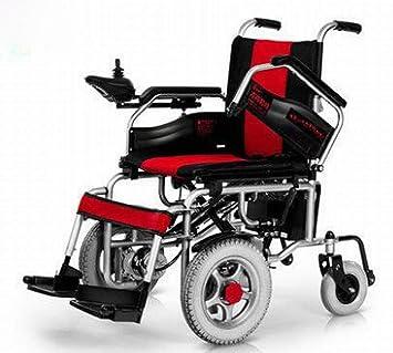 GUO Silla de Ruedas Eléctrica de Tracción Delantera con Discapacidad Scooter Discapacitados Tracción Delantera,Rojo