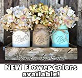 Mason Canning JARS & Wood ANTIQUE WHITE Tray Spring Centerpiece with 3 Ball Pint Jar -Kitchen Table Decor Distressed Rustic (Flowers Optional) -CREAM, COFFEE, SEAFOAM Painted Jars (Pictured)