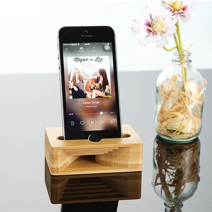 FeBite Soporte para teléfono móvil Soporte de bambú para madera Amplificador de sonido Base de acoplamiento para muelle para iPhone Samsung HUAWEI Teléfonos ...