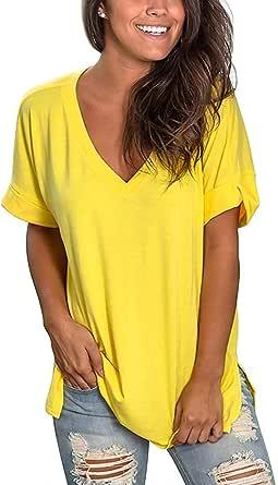 heekpek Blusas de Moda Verano Mujer Blusas y Camisas de Mujer Ropa Mujer Verano Tops Mujer Camisas OversizedColor Sólido V Neck Negro Blanco Camisa ...