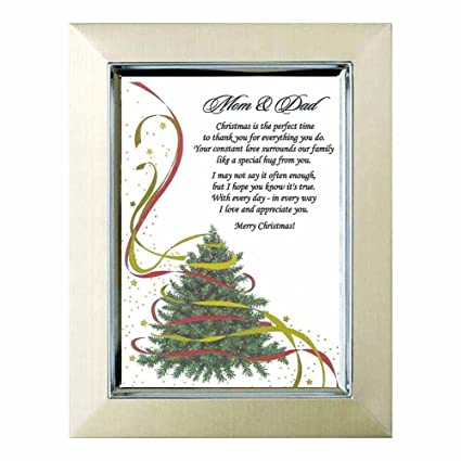 christmas gift for mom dad sweet poem for parents on 5x7 inch christmas tree - Christmas Gift For Parents
