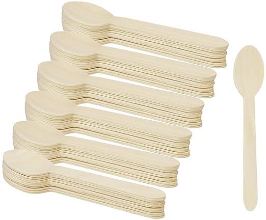 COM-FOUR® 72x cubiertos desechables de cucharas de madera ...