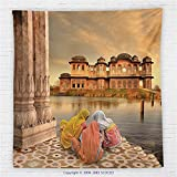 59 x 59 Inches Ancient India Fleece Throw Blanket Girls Near Traditional Oriental Building Antique Meditation Zen Lands Image Blanket Sand Brown