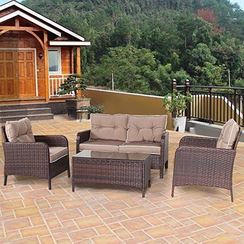 Costway 4 PCS Outdoor Patio Rattan Wicker Furniture Set Sofa Loveseat W/ Cushions (Rattan Sofa Sets)