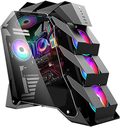 Wsnbb Gaming Pc Gehäuse Mid Tower Atx M Atx Pc Gaming Computer Gehäuse Gehärtetes Glas Side Panel Usb 3 0 Kühlwasser Fall For Desktop Pc Computer Color Black Küche Haushalt