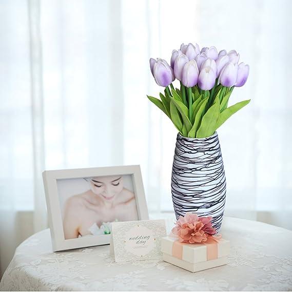 10 tulipanes artificiales RERXN de látex, poliuretano real al tacto, ramo para el hogar o para bodas: Amazon.es: Hogar