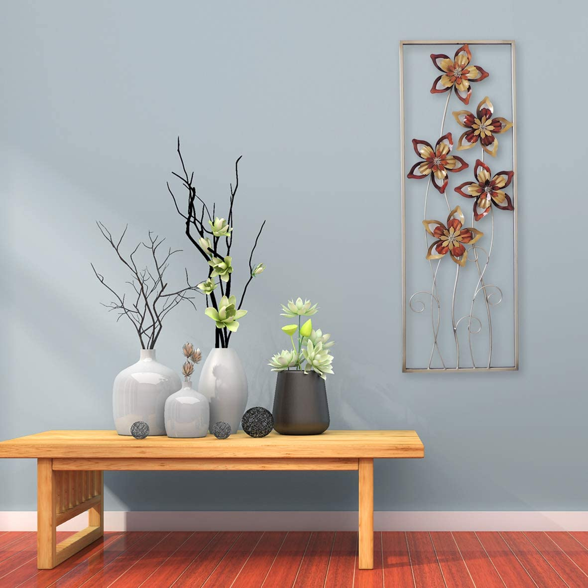 All American Collection New Aluminum/Metal Wall Decor with Frame (Burgundy/Brown Flower)
