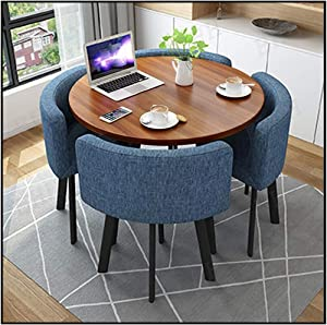 Round Leisure Table and Chair Set 4, Modern Kitchen Furniture Combination 80cm Small Wood Table Cloth Sofa Seat Cafe Office Home Kitchen Gaming Room Bar Outdoor Garden Hotel Fast Food Snack Shop