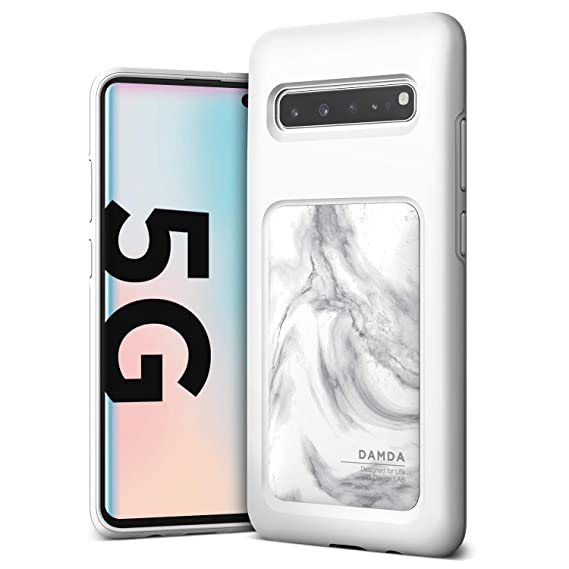 Galaxy S10 5G Case, VRS Design Shockproof Slim Shield Case [Damda High Pro  Shield] [White Marble] Reinforced Corners Compatible with Galaxy S10 5G,