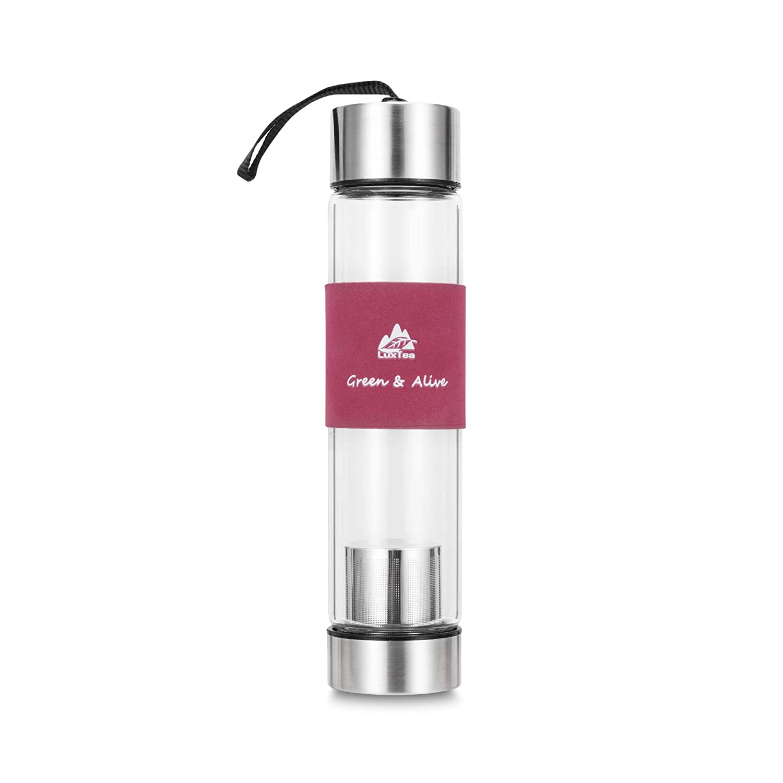 Luxtea 断熱ガラス水筒、取り外し可能なインフューザー付き - 携帯用スポーツトラベルボトル - 16オンス B072NXTLG1 レッド
