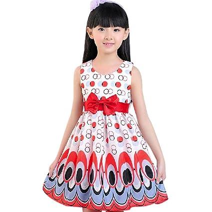 Niña Princesa Vestido,Sonnena Floral Punto impresión Vestido de sin Manga Lindo tutú Vestido de