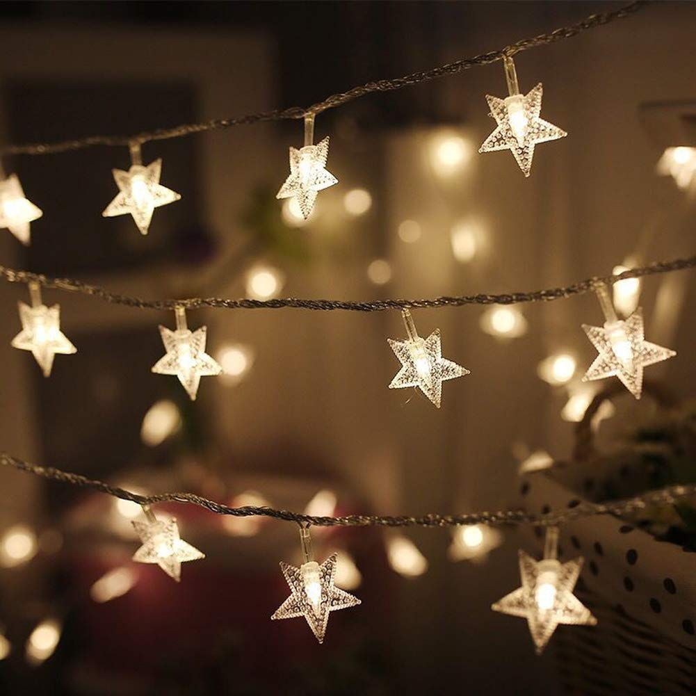 100 LED 15M Star String Lights, Plug in Fairy String Lights Waterproof, Extendable for Indoor, Outdoor, Wedding Party, Christmas Tree, New Year, Garden Decoration, Warm White QINGYUN