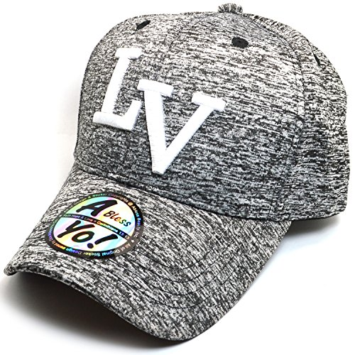 AblessYo Cali or LV Embroidered Black Heather Curved Visor Baseball Sports Cap AYO1153 - Hat Lv