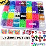 11,000pc Original Rainbow Mega Refill Bundle by Talented Kidz: 10,000 Premium Quality Rubber Bands, 24 Charms, 500 S-Clips, 175 Beads & Case. +30 Vibrant Colors. Friendship Bracelet Loom Craft Refill