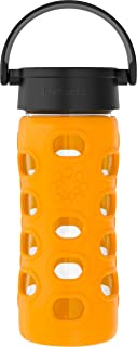 product image for Lifefactory 12-Ounce BPA-Free Glass Water Bottle with Classic Cap and Protective Silicone Sleeve, Marigold