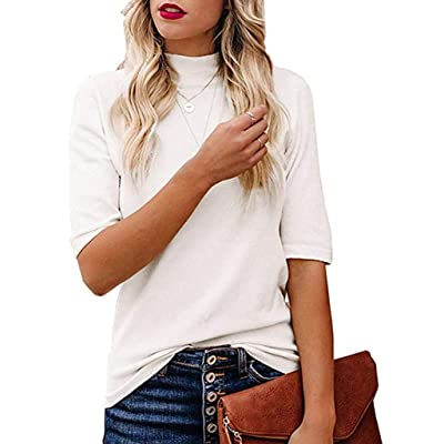 Meikosks Women's Mock/Turtle Neck Half Sleeve T-Shirt Summer Fitted Tops Casual Blouses: Clothing