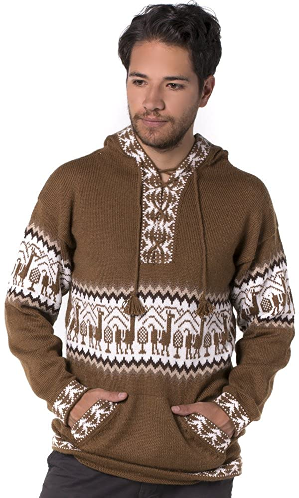 fbd964f77 Gamboa - Alpaca - Llamas Sweater - Hoodie for Men - Andean Design in Brown  at Amazon Men s Clothing store