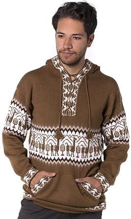 551abdc80b21 Gamboa - 100% Alpaca - Llamas Sweater - Hoodie for Men - Andean ...