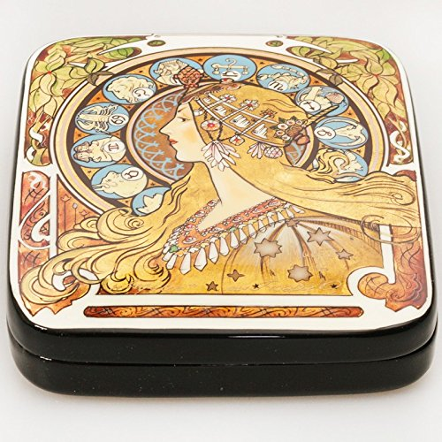Beautiful Hand-painted Papier-mache Lacquer Box for Jewelry Zodiac Lacquer Box (A. Mucha) Great Gift for Women by Russian Lacquer Miniature (Image #3)