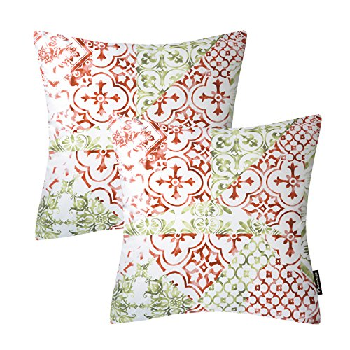 Phantoscope Living Series Set of 2 Coffee Throw Pillow Case Cushion Cover Classical Ornament 18 x 18 inch 45 x 45cm