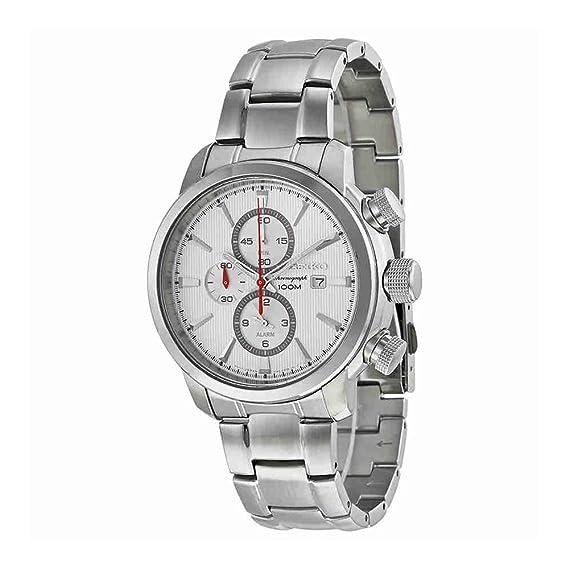 Seiko SNAF43P1 - Reloj para hombre con correa de acero, color blanco/gris