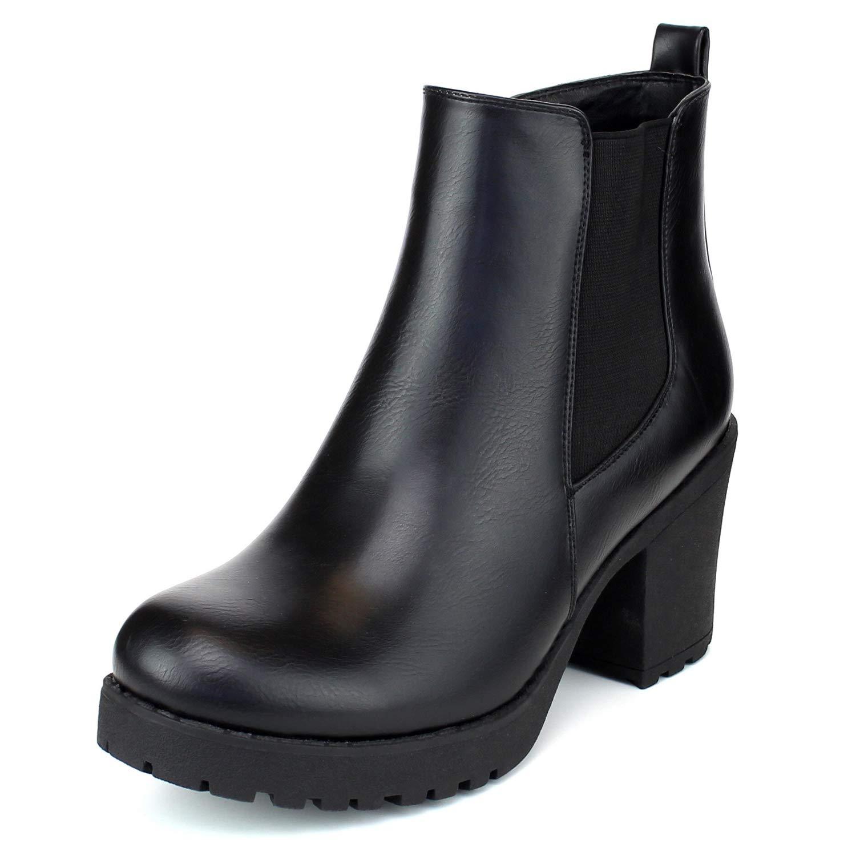 Black ShoBeautiful Women's Block Chunky Heel Ankle Booties Slip on Platform Boots Zipper up High Heel Chelsea Boots