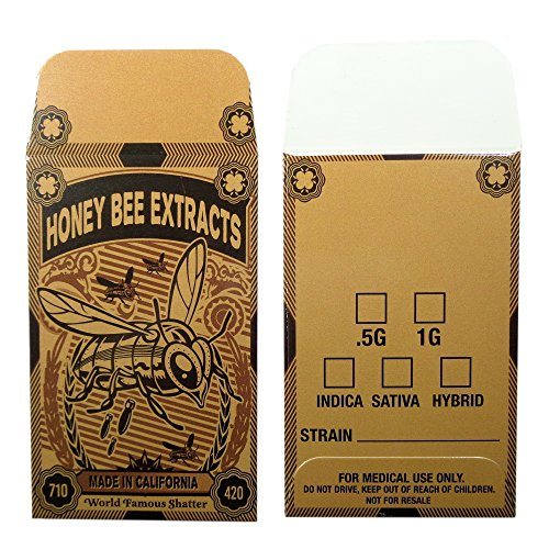 25 Honey Bee Extracts Concentrate Coin Envelopes by Shatter Labels #124