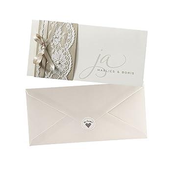 Einladungskarten Marlies Zur Hochzeit, Creme, Spitze, Blanko  Hochzeitseinladungskarten Mit Umschlag Und Weddix Siegeletikett