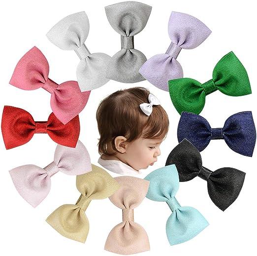 20PCs Baby Big Hair Bows Elegant Girls Alligator Clip Fabric Ribbon Headband NEW