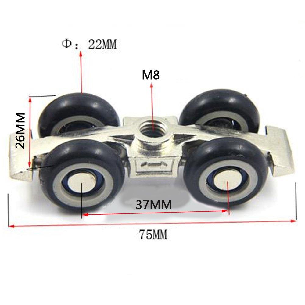 Luz Puerta Corredera Roller 4/ruedas hogar habitaci/ón madera para colgar en puerta ruedas Rail Track Polea oso 30/kg para muebles Hardware