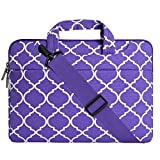 Mosiso Laptop Shoulder Bag for 13-13.3 Inch MacBook Pro, MacBook Air, Notebook Computer, Quatrefoil Canvas Protective Briefcase Carrying Handbag Sleeve Case Cover, Ultra Violet
