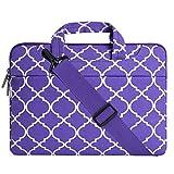 MOSISO Laptop Shoulder Bag Compatible 15-15.6 Inch MacBook Pro, Ultrabook Netbook Tablet, Quatrefoil Canvas Protective Briefcase Carrying Handbag Sleeve Case Cover, Ultra Violet