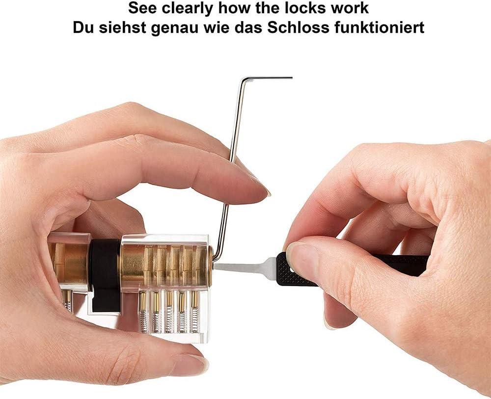 NWKNWK Lockpicking Set 24-Teiliges Dietrich Set mit 3 Transparenttem Vorh/ängeschloss Dietrichen Kit f/ür Anf/änger und Professionelle Lockpicker