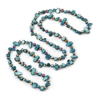 Avalaya Long Teal Shell Nugget and Chameleon Glass Crystal Bead Necklace - 118cm L EeqWI6V