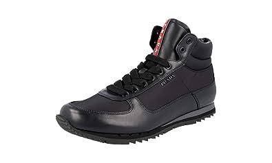 2ff341d2c923 Prada Men s 4T2782 Black Leather Sneaker EU 6 (40) ...